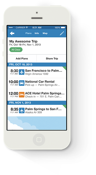Image of TripIt Itineraries for iPhone